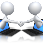 Facebook Page -2 figures reaching out of laptops shaking hands