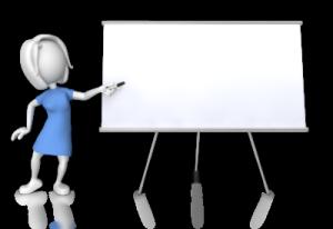 Prezi presentation teaching classes at white board