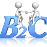 "2 stick figures shaking hands while sitting on large blue letters ""B2C"" Business to Customer, Speeches"