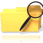 yellow folders w magnifying glass searching