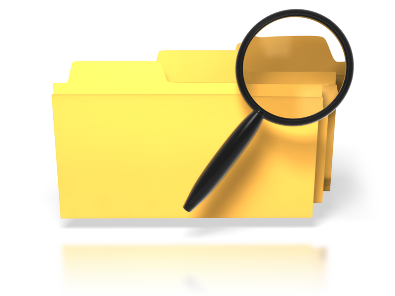 yellow folders w magnifying glass searching for content
