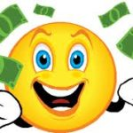 Smiley face with money