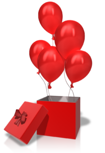 red balloons floating upward out of a red box
