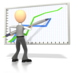 figure at whiteboard drawing graphs for technical writing manual