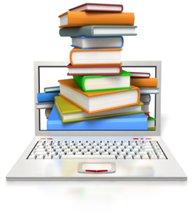books and a computer for researching training content and answering questions