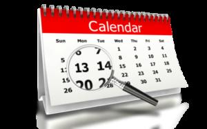 Magnifying glass on calendar