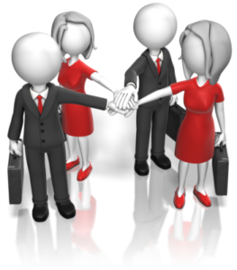 business men and women in a circle reaching to the middle to touch hands