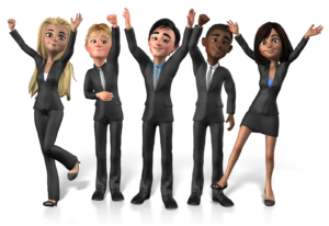 research your audience. Pictured are male and female business people with hands raised to get attention