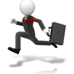 figure of businessman in a black suit with red tie flying over his shoulder as he runs with a briefcase trying not to be late