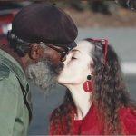 "Nancy kissing her favorite panhandler ""Old Conti"""