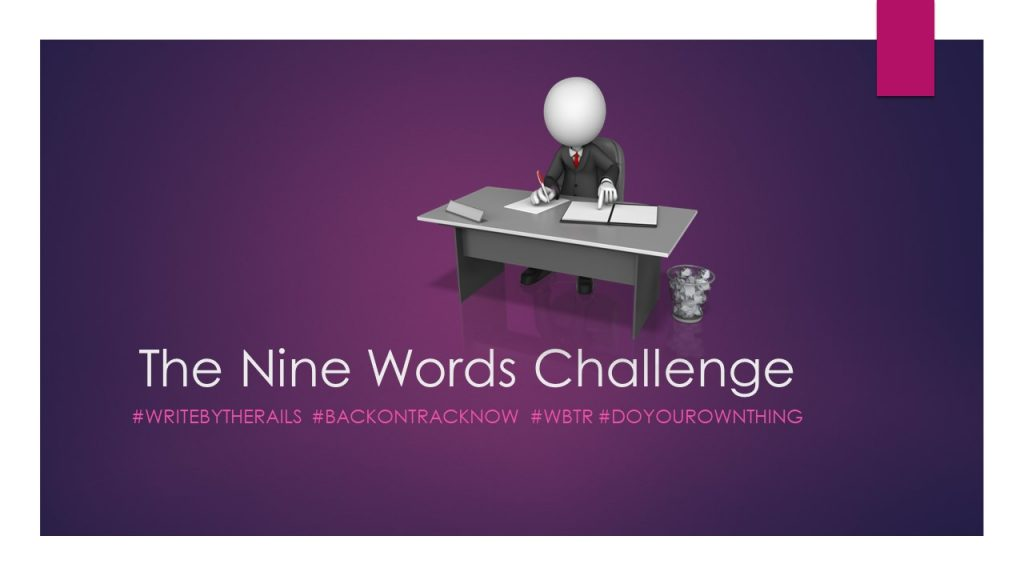 The Nine Word Challenge with picture of writer at desk ad waste paper basket
