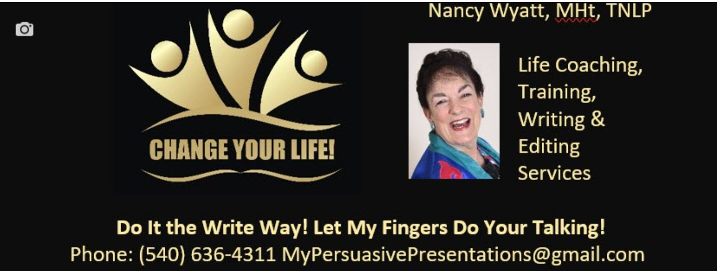 logo with Nancy's contact information on it