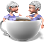 illustration of 2 gray-haired ladies sitting in a big coffee cup and talking