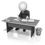 business figure working at desk with full wastepaper basket on the floor.