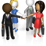 business team of men and women in a circle, touching hands in the center during ice-breakers