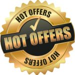 "golden shiny vintage hot offers 3D vector icon seal sign button shield star, saying ""Hot Offers,"" with checkmark"