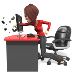 business woman standing up and punching computer screen