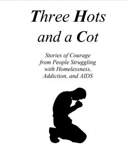 Silhouette of a man praying on his knees Three Hots and a Cot inside cover