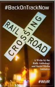Railroad Crossing Sign on bookcover for Write by the Rails
