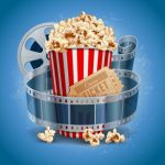 Filmstrip wrapped around Movie popcorn in red and white box for Vimeo video