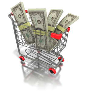 shopping cart full of money earned on YouTube
