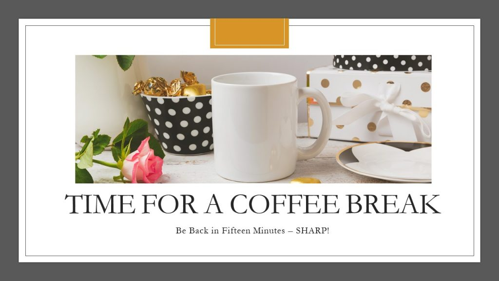 Nancy's Novelty Infographics coffee break black white gold polkadots Elegant Style My Persusasive Presentations