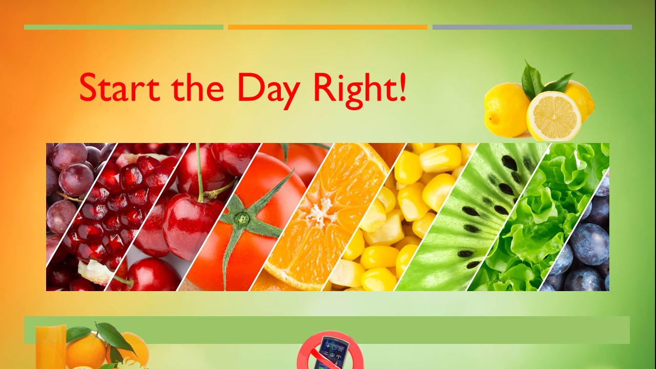 Infographic multi-colored fruits, turn off cell phone, My Persuasive Presentations