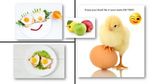 Pix of eggs, a smiley face and a baby chicken with it's foot on an egg Nancy's Novelty Infographics, My Persuasive Presentations