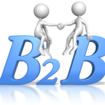 2 figures sit atop B2B shaking hands in agreement to provide references for each other