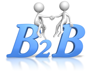 figures atop B2B letters indicating Business to Business venue arrangements