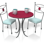 two chairs and cups of coffee at a small table for free consultation