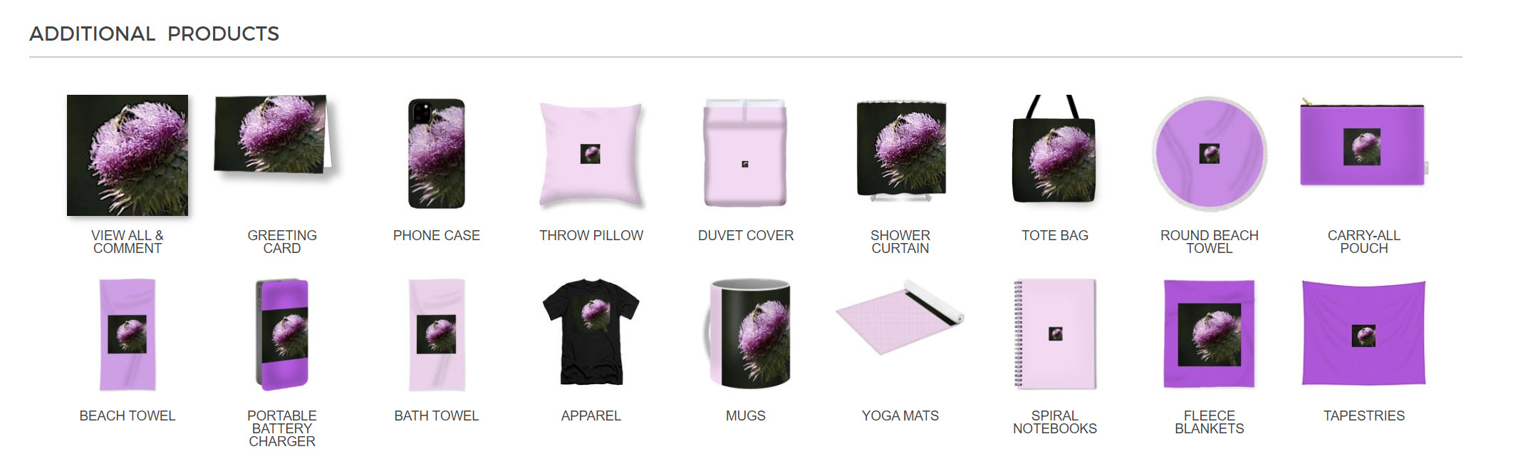 "screen shot of Nanc's Novelties: ""Bee on Thistle"" products"