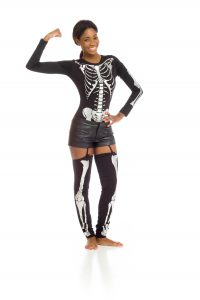 model flexing muscles showing bone health skeleton beneath her clothing (osteoblasts worked)