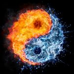 Earth depicted yin yang half fire half water