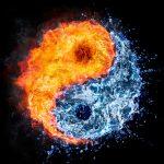 Earth depicted yin yang half fire half water