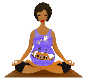 Illustrator Annalise Batista woman bearing twins sitting in yoga posture