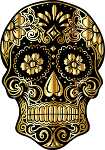 Gold Sugar Skull art by Gordon Johnson