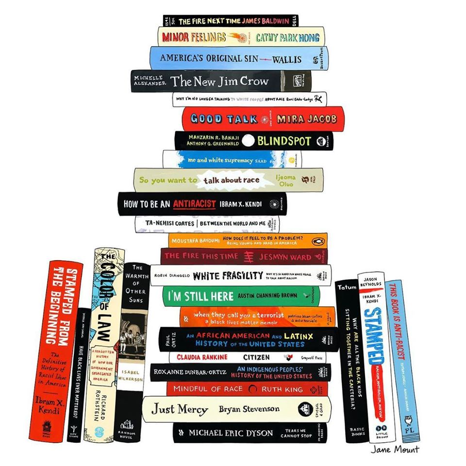 Stack of books on racism and Black History