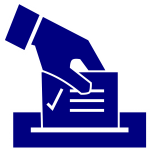 illustration of a vote ballot being dropped into a mail slot