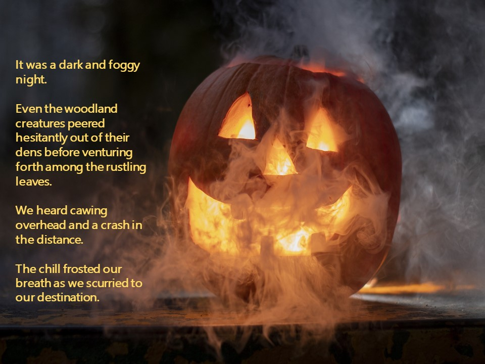 Halloween pumpkin in fog w scary text