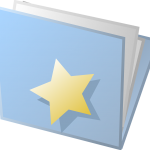 blue folder full of papers - gold star on the folder front
