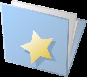 blue folder full of papers - gold star on the folder front