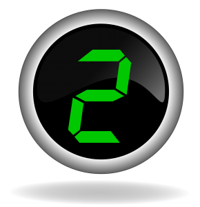 green numeral 2 on black button