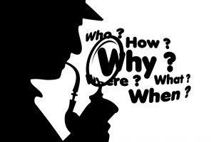 Sherlock Holmes + magnifying glass asking questions about speakers' content