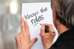 """Hand writing on paper, """"Know the Rules"""""""
