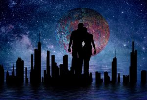 silhouette of a couple against the red moon in a dark sky over a big city #VSS365 #prompt