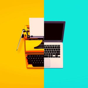 illustration - half typewriter; half computer keyboard by Sher Singh