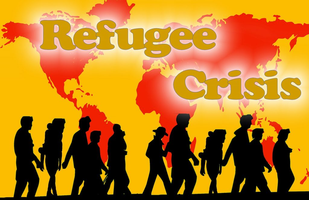 Refugee Crises (silhouettes of refugees from all over the world) by kahll