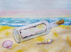 message in a bottle on the seashore by Victoria Borodin