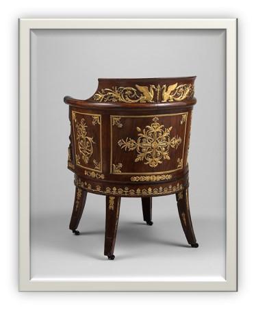 French Desk displaying gold splat - public domain